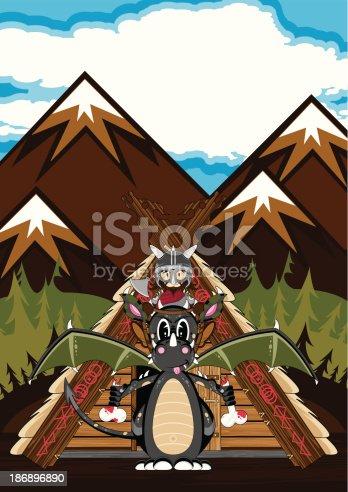 istock Mystical Dragon and Viking Warrior 186896890