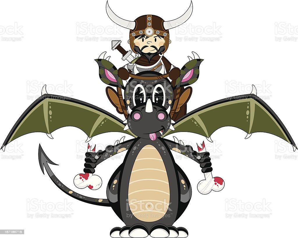 Mystical Dragon and Viking Warrior royalty-free stock vector art