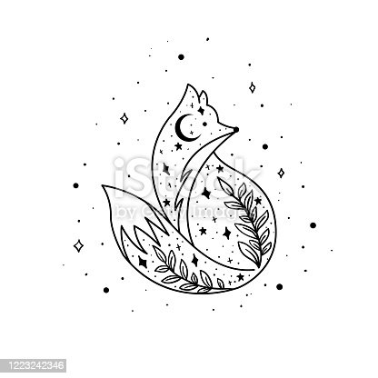 istock Mystical fox with moon and stars. Stars, constellations, moon. 1223242346