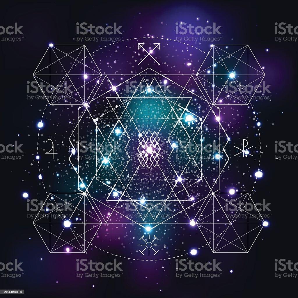Mystical geometry symbol on space background. vector art illustration