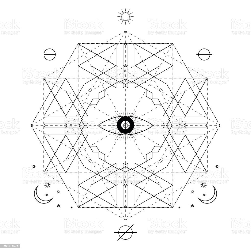 Mystical geometry symbol. Vector linear alchemy, occult and philosophical sign. - ilustración de arte vectorial