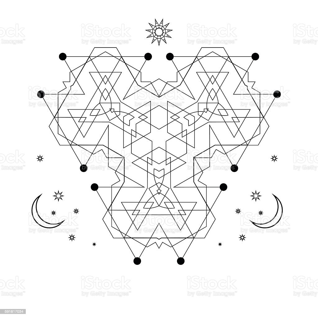 mystical geometry symbol. Vector linear alchemy, occult and philosophical sign. vector art illustration