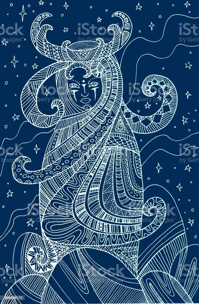 Mystical Girl Shaman Isolated On Blue Background Stock