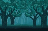 Mystical gloomy forest. Mysterious centuryold trees in darkness silhouettes burnt grove in fog terrible fantasy landscape ancient sad vector forest with echoes long standing battle.