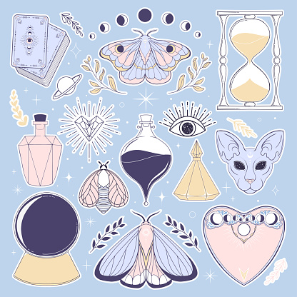 Adorable clip art illustration. Hand drawn celestial template for stickers.  Mystical themed printable with star and magic items.