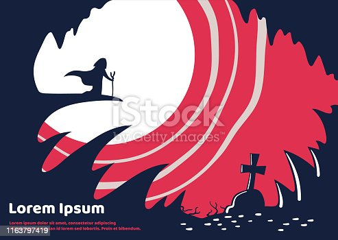 Mystical illustration about wizard in a cave. Vector illustration.
