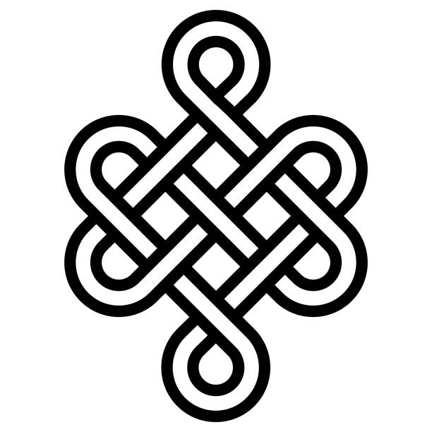 Mystical knot of longevity and health, sign  good luck Feng Shui, vector the infinity knot, health symbol tattoo Mystical knot of longevity and health, a sign of good luck Feng Shui, vector the infinity knot, health symbol tattoo celtic knot stock illustrations