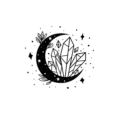 Mystical moon with crystal and stars. Stars, constellations, moon, crystals.