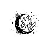 Mystical moon with crystal and stars. Stars, constellations, moon, crystals. Hand drawn astrology symbol. For print for T-shirts and bags, decor element. Mystical and magical, astrology illustration