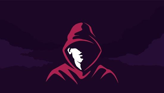 Mystical silhouette of acharacter in hoodie . Mysterious cyber hacker red sweatshirt in twilight.