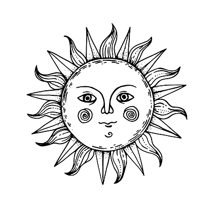 Mystical sun illustration. Hand drawn sketch. Amon ra god. Pagan symbol. Vector illustration.