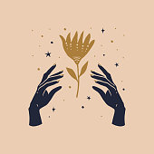 istock Mystical symbol hands and flower. Trendy magic symbol on a light background 1250420054