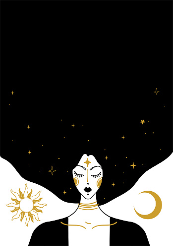 Mystical vector vintage illustration, face of a witch girl with black hair, card with copy space, space background with sun, moon and stars. Concept for meditation, tarot, witchcraft.