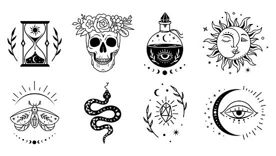 Mystical witchcraft symbol set. Vector boho design. Magic, esoteric silhouettes.