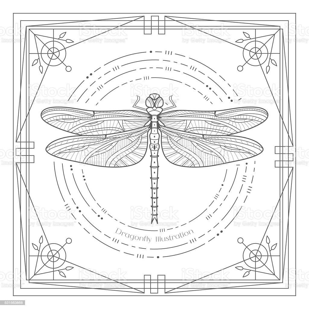 Libélula Mystyc ilustración - ilustración de arte vectorial