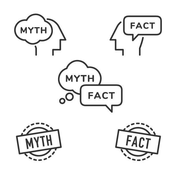 stockillustraties, clipart, cartoons en iconen met mythe en feit pictogrammen. - verbeelding