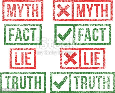 istock Myth Fact Lie Truth rubber stamps 523663999