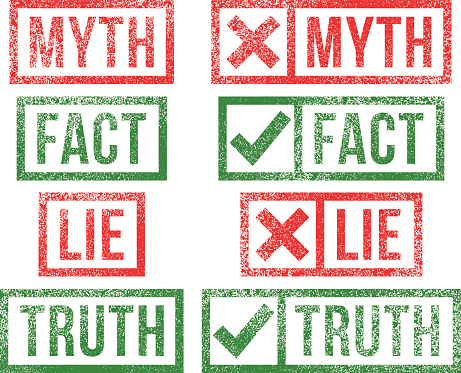 Myth,Fact, Lie,Truth rubber stamps.