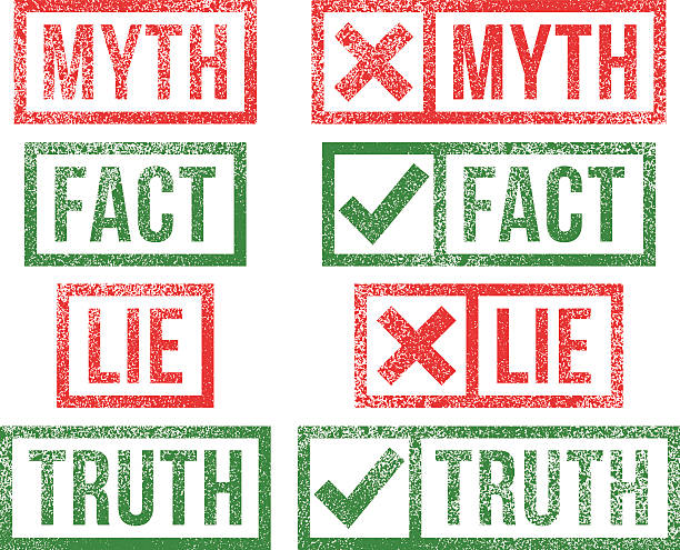 Myth Fact Lie Truth rubber stamps Myth,Fact, Lie,Truth rubber stamps. dignity stock illustrations