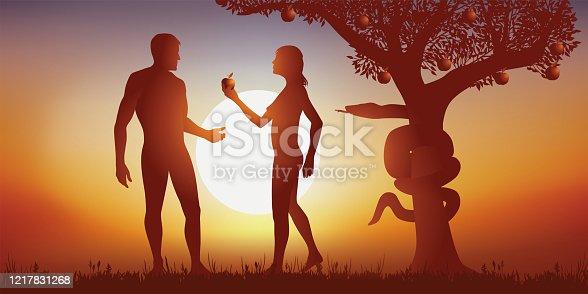 Concept de la Génèse et du pécher originel avec ève qui offre une pomme à Adam en le soumettant à la tentation sous le regard du serpent symbolisant du mal.