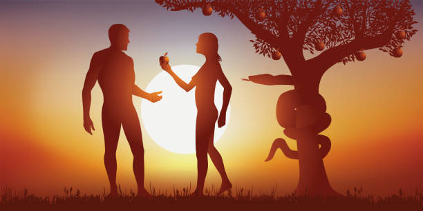 Myth of the creation of man by God with Adam and Eve at the time of chewing the apple. vector art illustration