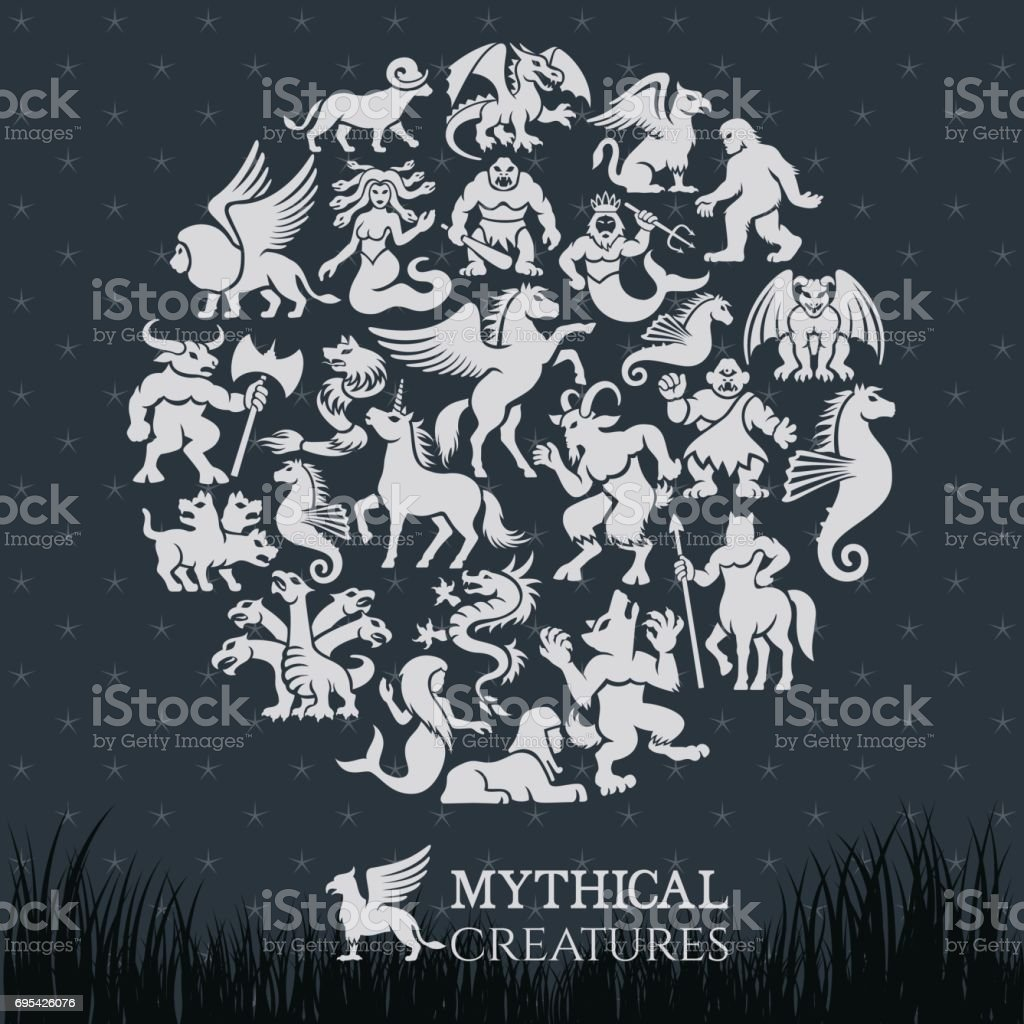 Mythical Collage vector art illustration