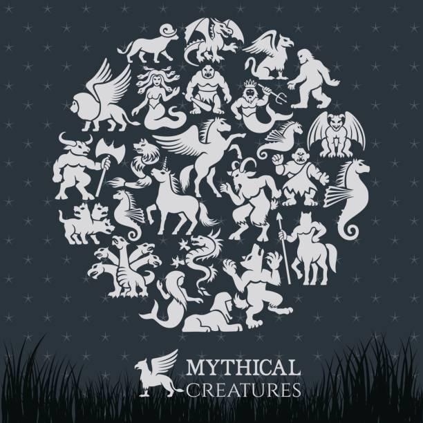 mythical collage - mythology stock illustrations