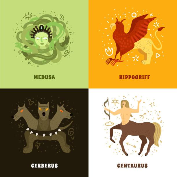 bildbanksillustrationer, clip art samt tecknat material och ikoner med mytisk varelse koncept - centaurus