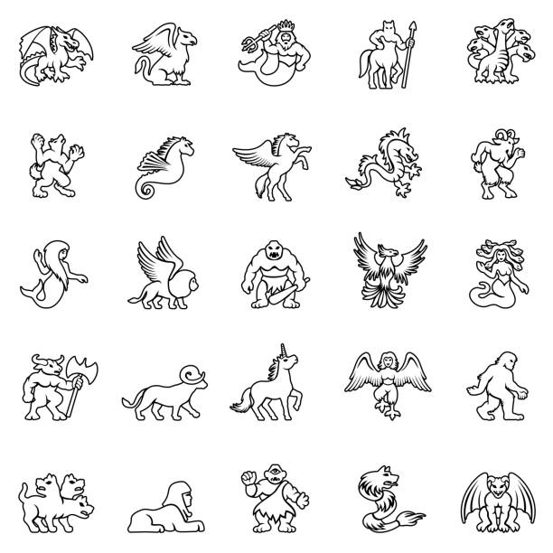 illustrazioni stock, clip art, cartoni animati e icone di tendenza di mythical creature icon set - gargoyle
