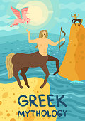 Two mythical creatures from greek mythology centaurus and pegasus near sea flat vector illustration