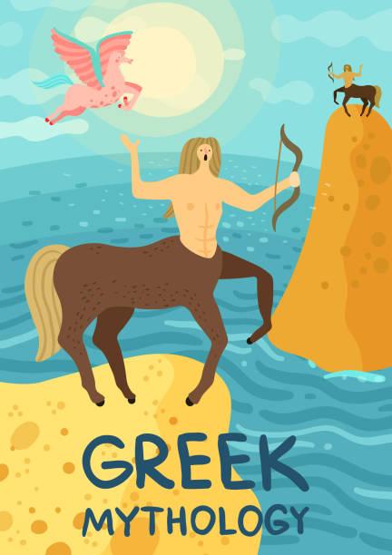bildbanksillustrationer, clip art samt tecknat material och ikoner med mytisk varelse illustration - centaurus