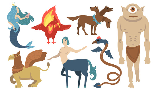 Mythical creatures characters set