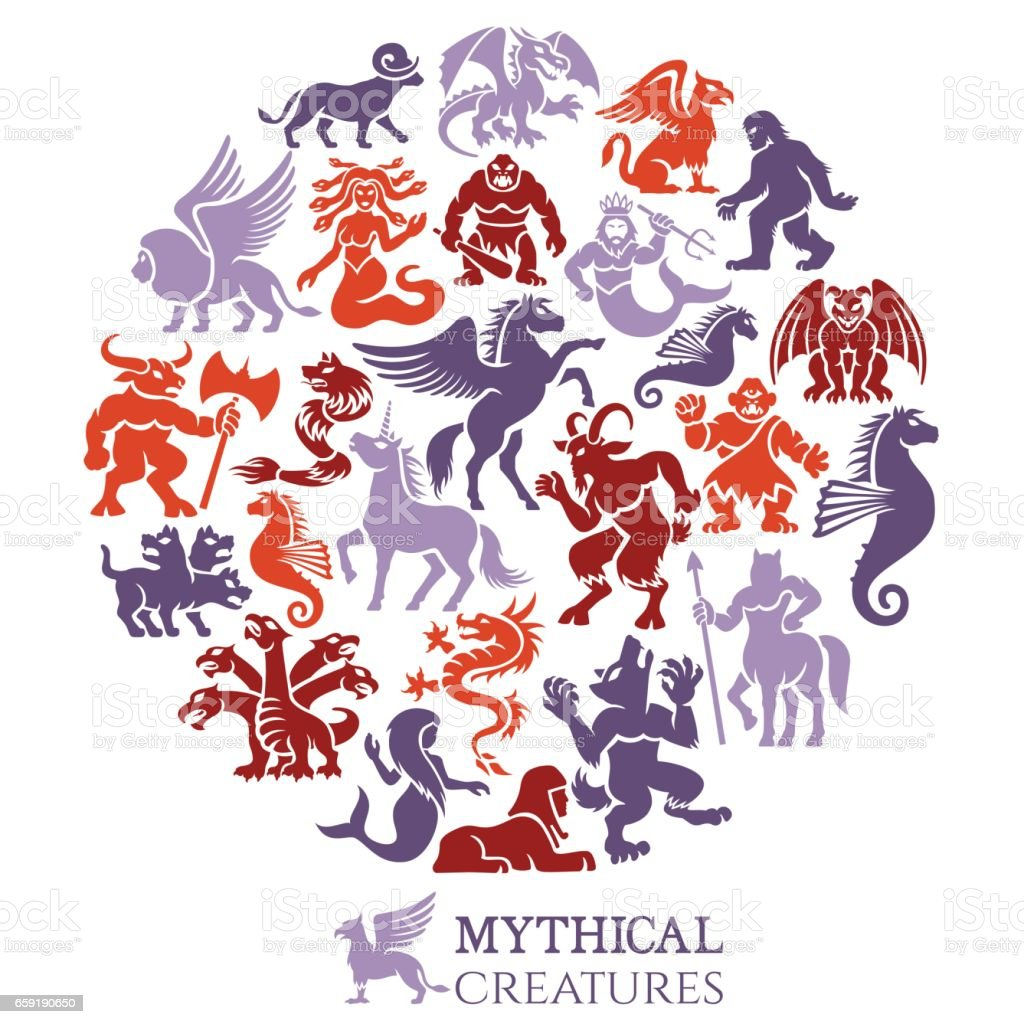 Mythical Creatures Collage vector art illustration