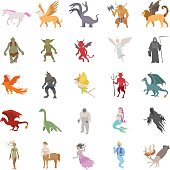 Mythical creatures color vector icons