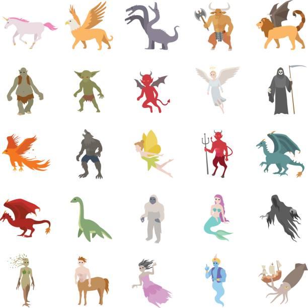 신화 생물 컬러 벡터 아이콘 - 그리핀 stock illustrations