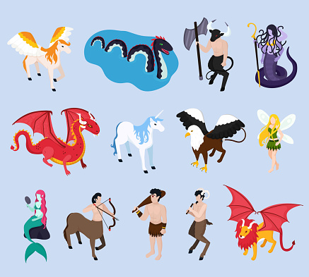 mythical creatures isometric icons