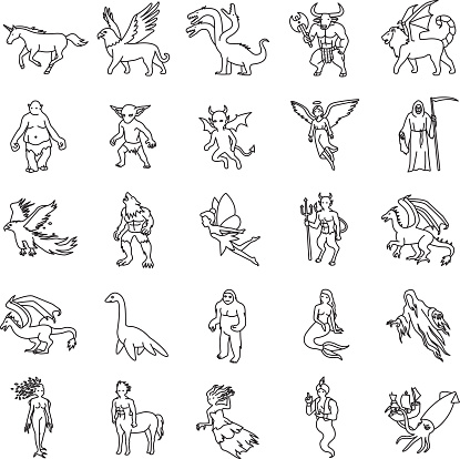 Mythical creatures outlines vector icons