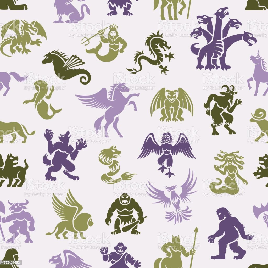 Mythical Creatures Pattern vector art illustration