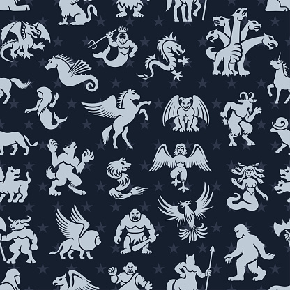 Mythical Creatures Seamless Pattern
