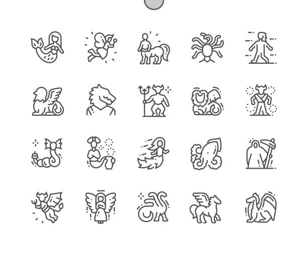 mythical creatures well-crafted pixel perfect vector thin line icons 30 2x grid for web graphics and apps. simple minimal pictogram - pegasus stock illustrations