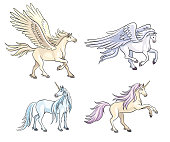 Set of two unicorns and two pegasis. Vector illustration. EPS8
