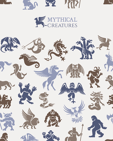 Mythical seamless pattern