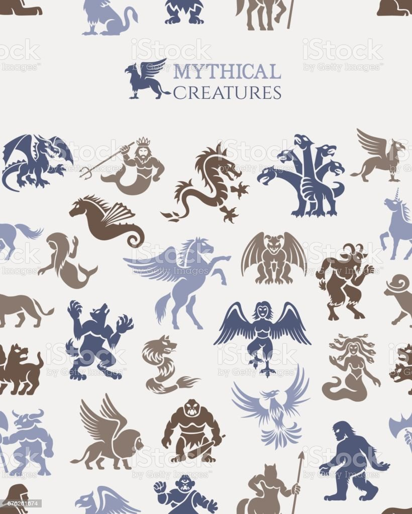 Mythical seamless pattern vector art illustration