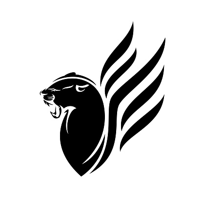 mythical winged black panther profile head silhouette vector design