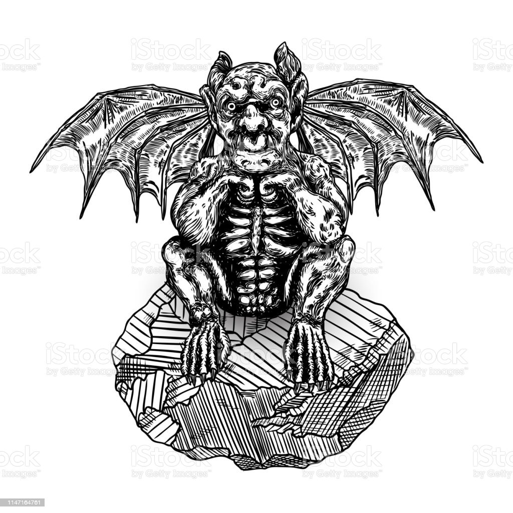 Mythological Ancient Gargoyle Creatures Human And Dragon Like Chimera With Bat Wings And Horns Mythical Gargouille With Sharp Fangs And Claws Seating On The Stone Engraved Hand Drawn Sketch Vector Stock Illustration