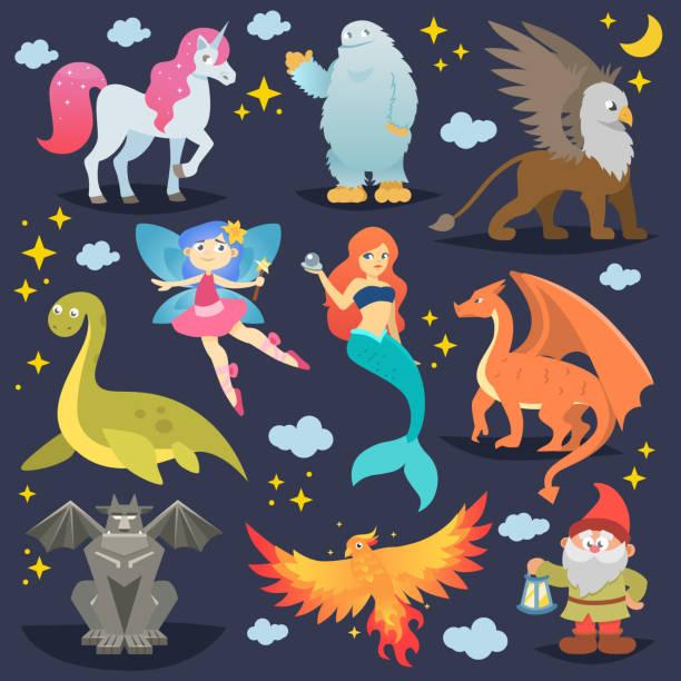 신화적인 동물 벡터 신화 생물 피닉스 또는 환상 요정과 만화 짐승 배경에 고립의 신화 인 어 또는 유니콘과 그리핀 그림 세트의 문자 - 그리핀 stock illustrations