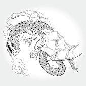 Mythological fire-breathing Dragon isolated on white background. The series of mythological creatures