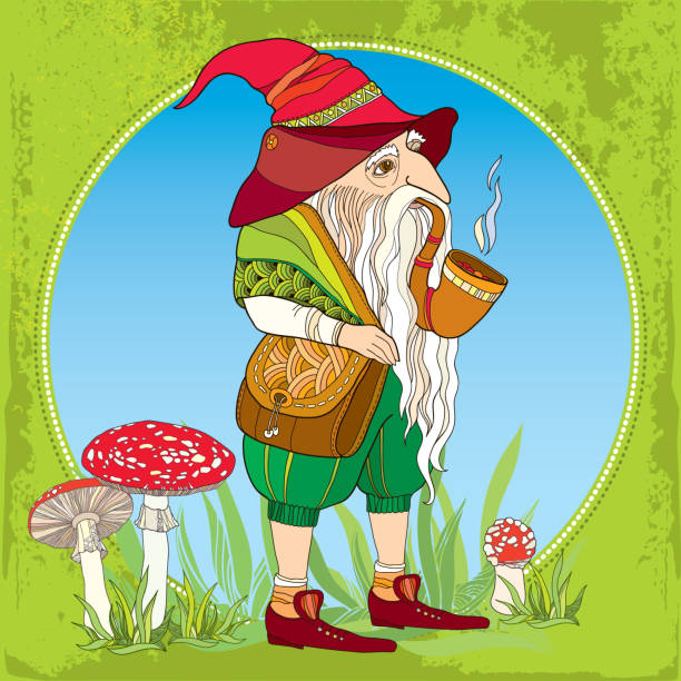 mythological gnome or dwarf on the background with amanita - old man smoking pipe drawing stock illustrations, clip art, cartoons, & icons