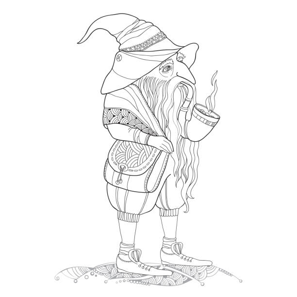 mythological gnome or dwarf with pipe isolated on white background - old man smoking pipe drawing stock illustrations, clip art, cartoons, & icons