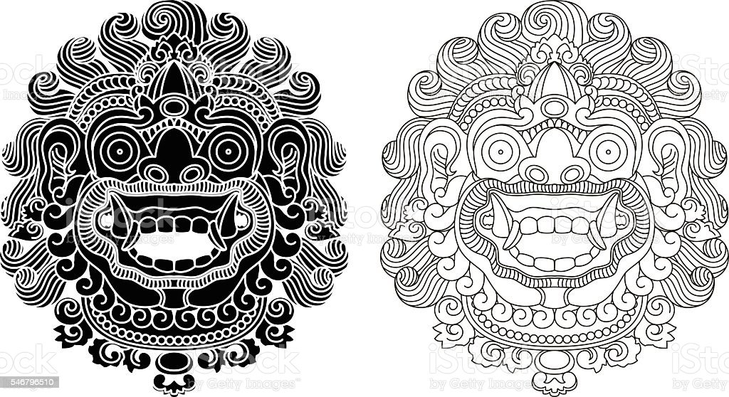 Mythological god's masks. Balinese style. Barong. vector art illustration